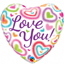 "Love You Fuzzy Hearts Foil Balloon (18"") 1pc"